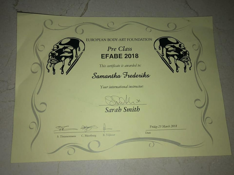 Certifikaten Efabe European Face And Body art Event |